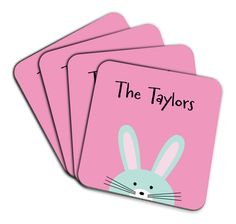 These pink rabbit customized coasters is a great choice for you girls.