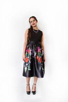 Black Fit & Flare Floral Print Satin Dress $42.99