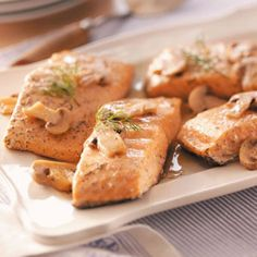 Salmon with Lemon-Mushroom Sauce Recipe -The microwave makes this dinner super fast. This elegant entree blends lively flavors with tender, flaky salmon. Simple & Delicious Test Kitchen