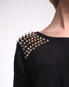 Studs+comfy sweater. I would wear this over everything, all day everyday.