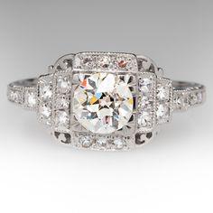 1930s Antique Old European Cut Diamond Platinum Ring