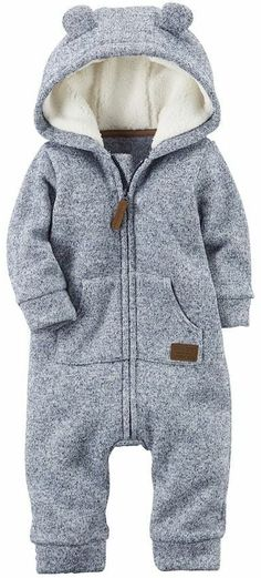 Sherpa-lined zip up coverall || blue and grey || baby boy clothes || winter boy outfits || ad https://presentbaby.com