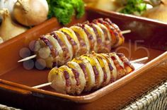 potato skewers with bacon - Stock Photo | by 2@phbcz