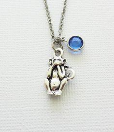 Speak No Evil Monkey Silver Necklace, Orangutan Necklace, BFF, Best Friend, Birthday Gift, Best Friend, Swarovski Channel Crystal Birthstone by BelieveInGoodKarma on Etsy