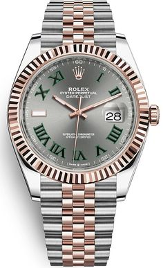 Buy new - Rolex Datejust 41 mm Steel Everose Gold Case Roman Numerals Slate Dial Fluted Bezel Jubilee Bracelet Watch Mvmt Watches, Rolex Watches For Men, Luxury Watches For Men, Sport Watches, Elegant Watches, Stylish Watches, Beautiful Watches, Fitness Watches For Women, Swiss Army Watches