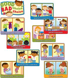 The vignettes in this Good Choice, Bad Choice Bulletin Board Set will give students a chance to choose between a right and a wrong choice of behaviors. The kid-friendly art style, photos, fresh colors and vignettes are intended to engage young and special learners and help students identify how they are feeling and reinforce social skills in the good and bad choices they make.   This set is an ideal way to create a positive, encouraging classroom environment that promotes learning. It ...