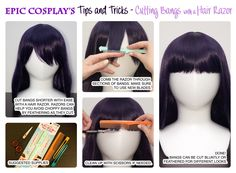 epiccosplaywigs:  EpicCosplay's Tips and Tricks shows you how to cut a wig's bangs easily with a hair razor!You can find these hair razors at beauty supply stores. They are very useful for creating feathered cuts! Make sure to use a new blade each time you cut a wig.Wig used is our Nyx in Purple Blackhttp://www.epiccosplay.com/26-classic-white-long-cosplay-wig-clone.html