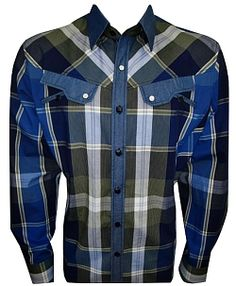 House of Lords Shades of Blue Plaid Shirt 79$