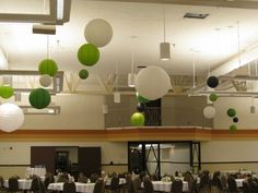 Green, White, Black Round Lanterns