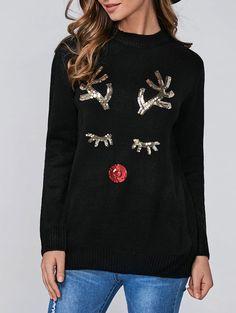 Sequins Deer Christmas Pullover Sweater in Black | Sammydress.com