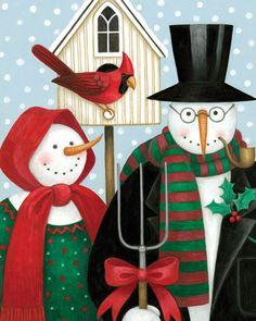American Gothic: Snowmen by Stephanie Stouffer Christmas Snowman, Christmas Holidays, Christmas Crafts, Christmas Ornaments, Christmas Ideas, Christmas Decoupage, Outdoor Christmas, Merry Christmas, American Gothic Parody