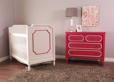 "Can't wait to show off this raspberry pink ""Beverly"" crib and dresser by @newportcottages at #biggestbabyshower LA!"