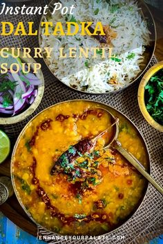 Instant Pot recipe for popular Dal Tadka, i. curry lentil soup tempered with spice infused oils for enhance flavors. Served hot with rice or as soup! Vegetarian One Pot Meals, Vegetarian Curry, Vegetarian Recipes, Healthy Recipes, Meat Meals, Vegan Soup, Healthy Eats, Lentil Recipes, Curry Recipes