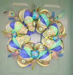 "24"" Peacock Mesh Wreath olynstar7"