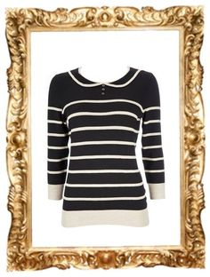 Black Striped Sweater with Collar - £24 (on sale)