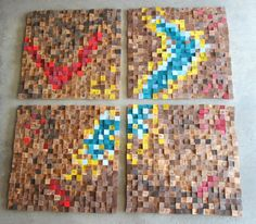 Rustic Wood wall Art - set of 4, Reclaimed Wood wall Art, Wood mosaic, Geometric art, Wood wall art, Wood wall sculpture Abstract wood art by GBandWood on Etsy