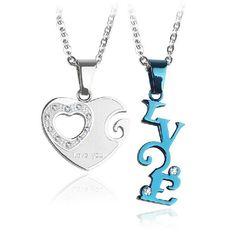 Multicolor Love & Heart Lovers Necklaces