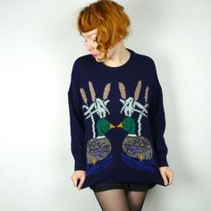 Vintage 90s DUCK jumper with googly eyes BIRDS by SartorialMatters, £26.00