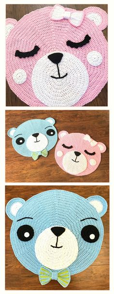 Crochet Rug PATTERN Crochet Bear Nursery Rug - by Deborah O'Leary Patterns