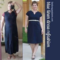 Great idea for making a dress that's too tight fit.  Instead of shortening from the bottom...Do it at the waist.  Brilliant!