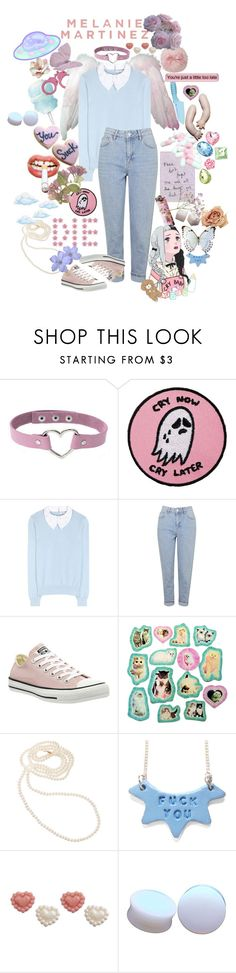 """melanie martinez aesthetic"" by causingpanicatthetheater ❤ liked on Polyvore featuring INC International Concepts, Carven, Topshop and Converse"