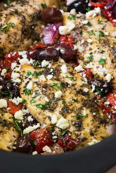 Slow Cooker Greek Chicken. Moist, juicy chicken with a bright Mediterranean flavors, roasted red peppers, and feta. Easy, healthy, and absolutely delicious!