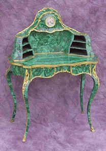 Circa 1860 French Writing Desk. Malachite with gilt bronze mounts, Louis XV Style.