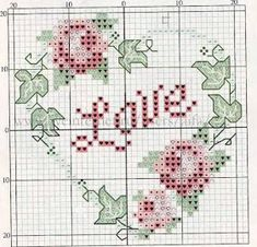 nice for Valentine or anniversary - rose heart Mini Cross Stitch, Cross Stitch Heart, Cross Stitch Cards, Cross Stitch Samplers, Cross Stitch Flowers, Cross Stitching, Cross Stitch Embroidery, Wedding Cross Stitch Patterns, Cross Stitch Designs