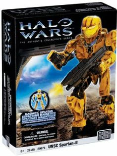 """Mega Bloks Halo Wars Mega Bloks UNSC Spartan-II (Yellow) by Mega Brands America Inc. - Megabloks - Fife. $29.95. Magnetic action figure based on the super soldier Spartans from the award-winning Halo video game series!. 24 quick build and interchangeable parts for authentic builds and customized units.. Encourages immersive story-telling and role-playing. 26 pcs build. Yellow MJOLNIR Mark V armor, helmet and assault rifle.. From the Manufacturer                """"Activated by ..."""