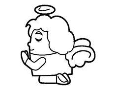 Dibujo de Ángel rezando para colorear