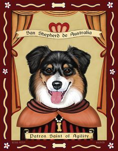 Australian Shepherd Art - Patron Saint of Agility -  8x10 art print by Krista Brooks