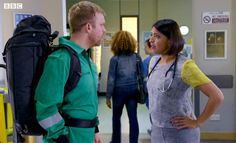 Casualty Dylan and Zoe (William Beck & Sunetra Sarker) Bbc Casualty, Bbc Drama, Medical Drama, English Actresses, Dramas, Tv Shows, Movies, Films, Cinema