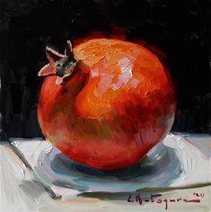 DPW Original Fine Art Auction - Pomegranate on Black - © Elena Katsyura Pomegranate Art, Still Life Fruit, Still Life Oil Painting, Fruit Painting, High Art, Fruit Art, Fine Art Gallery, Painting Techniques, Painting Inspiration