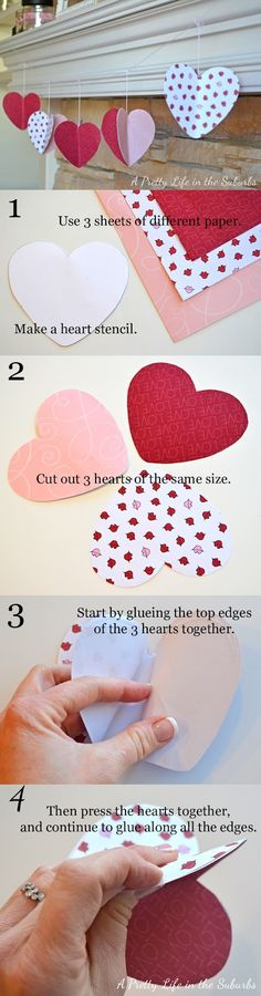 3D Valentine Paper Heart Garland There are plenty of accessories on the market, but the nicest decorations are the ones we make them at home, with a little patience and imagination. If you are in lack of inspiration, I present you a nice idea for decorations in the theme.This beautiful heart garland it's a perfect decoration for Valentine's Day. You can use it in every room beacause it's cute and simple.
