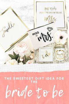 The perfect bridal shower gift idea for the bride to be! Bridesmaid Gifts From Bride, Will You Be My Bridesmaid Gifts, Bridesmaid Proposal Box, Bride And Groom Gifts, Bridesmaids And Groomsmen, Bridal Shower Gifts, Bridal Gifts, Engagement Gifts For Her, Beach Wedding Gifts