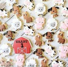 Sifts and Giggles - Birthday Cookies Farm Cookies, Dog Cookies, Barn Animals, Barnyard Animals, Personalized Cookies, Farm Cake, Custom Cookie Cutters, Birthday Cookies, 5th Birthday