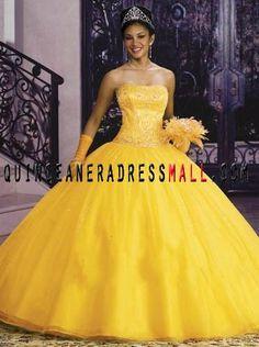 Yellow Puffy Prom Dresses