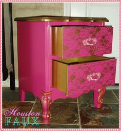 ON LAYAWAY  Not Available /  Victoria's Secret Inspired French Provincial Pink Side Table Nightstand. $165.00, via Etsy.