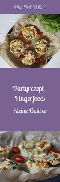 Herzhaftes Fingerfood ist als Partyrezept immer super: Im Blog findet ihr ein Rezept für Quiche mit Spinat, Feta und Tomaten sowie ein Rezept für Quiche mit Spargel und Erbsen. Kleine Quiche bzw. herzhaftes Tartes sind eine schöne Idee für ein Fingerfoodbuffet.