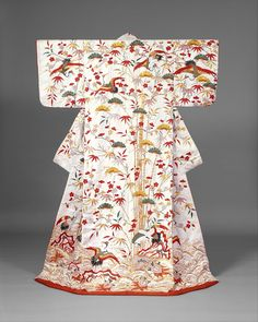 Kimono--Outer robe (uchikake) with theme of Mount Hôrai, Edo period second half of half of century Japan Silk and metallic thread embroidery on silk satin damask with stencil-dyed details Japanese Outfits, Japanese Fashion, Japanese Clothing, Paris Couture, Japanese Costume, Japanese Wedding, Wedding Kimono, Kimono Design, Japanese Textiles