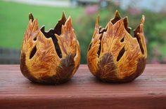 "Set of 2 ""Autumn Leaves"" Ceramic Votive Candle Holders | AugustaWynde - Seasonal on ArtFire"
