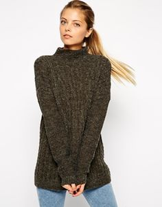 ASOS Cable Tunic With Turtle Neck