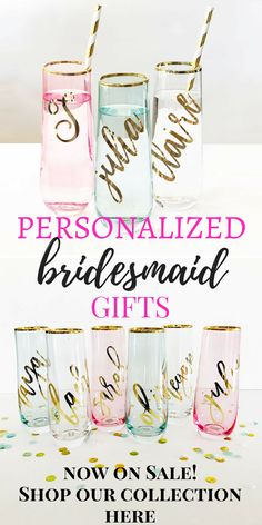 Bridesmaid gift ideas Bridesmaid proposal gift ideas! These personalized champagne glasses are soooo pretty! Pefect for mimosas! #willyoubemybridesmaid #bridesquad #bridesmaidproposal #bridesmaid