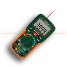 http://termometer.dk/multimeter-r13262/digitale-multimetre-r13263/digital-multimeter-og-ir-termometer-06-01-53-EX230-r13268  Digital multimeter og IR-termometer 06:01  Indbygget IR termometer med laser pointer til at finde hot spots (06:01 afstanden til mål ratio)  AC / DC spænding, AC / DC strøm, modstand, kapacitans, frekvens, temperatur (K IR), Duty Cycle, Continuity / Diode  4000 tæller stort baggrundsbelyst dobbelt LCD display med klare tal  Lav nuværende kapacitet måle...