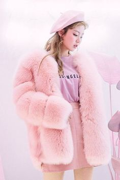 pink jacket with fur Pink Fluffy Jacket, Pink Fur Jacket, Pink Faux Fur Coat, Fox Fur Jacket, Warm Outfits, Pink Outfits, Fur Coat Outfit, Fur Clothing, Fur Fashion
