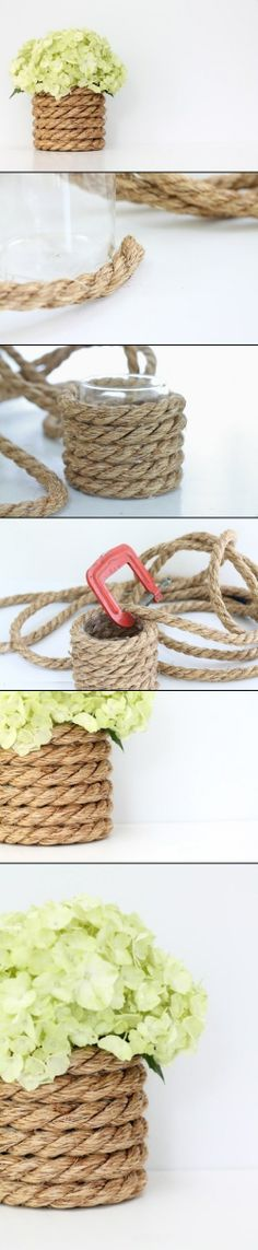 DIY Nautical Vase Decorated With Rope