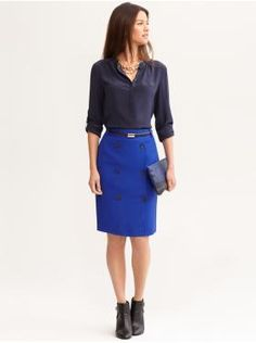 Double breasted pencil skirt and grosgrain trimmed silk blouse from Banana Republic, with brown skinny belt