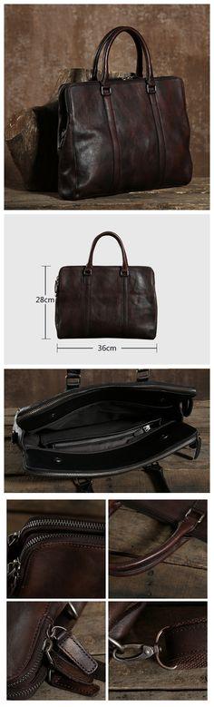 Handmade Top Grain Leather Bag, Men's Laptop Bag, Shoulder Bag GLT004 Laptop Shoulder Bag, Laptop Bag, Vintage Leather, Leather Men, Popular Bags, Grains, Handmade, Black, Hand Made