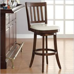 INSPIRED by Bassett Mission Bar Stool In Cream Finish