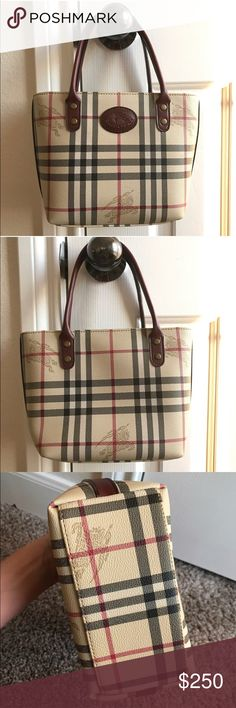 Burberry Haymarket Equestrian Check Plaid Purse Vintage bag. Has been authenticated by Authenticate First (see last photo for proof). I will forward the actual full email of certified authenticity to the buyer. Estimated value is $200. Price is firm, so that I make my $200 after fees. Can do $200 plus shipping on 🅿️🅿️. Please see wear when straps are folded backward (see photo). This wear is not visible when worn. Small size. L - 9.5in, H - 7 in, D - 4in, Strap drop - 6in. From 1980-1990…